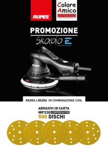 Promozione levigatrice Rupes Skorpio-E con 500 dischi abrasivi in carta