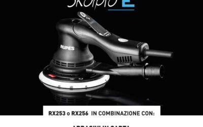 Levigatrice rotorbitale RUPES SKORPIO-E RX253 / RX256 con 500 dischi